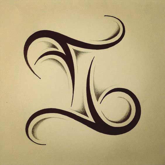 pisces tattoo symbol with shadding