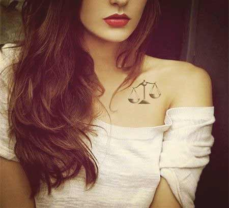 Temporary Libra tattoo design on chest ideas