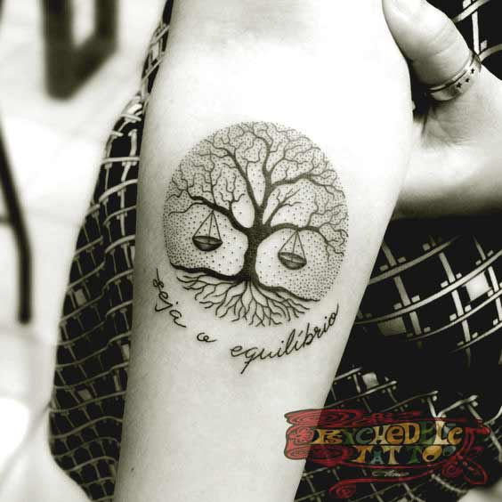 best libra and tree tattoos on forearm