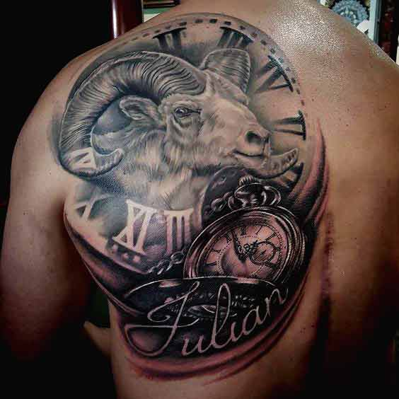 Aries zodiac sign tattoo with a pocket watch and clock on back