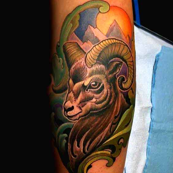 Best Aries zodiac color tattoo designs for men