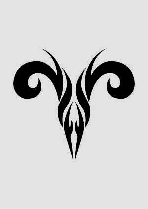 Tribal Aries zodiac symbol tattoo ideas