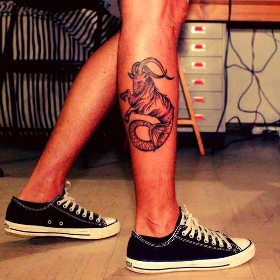 Full size capricorn zodiac symbol tattoos on leg