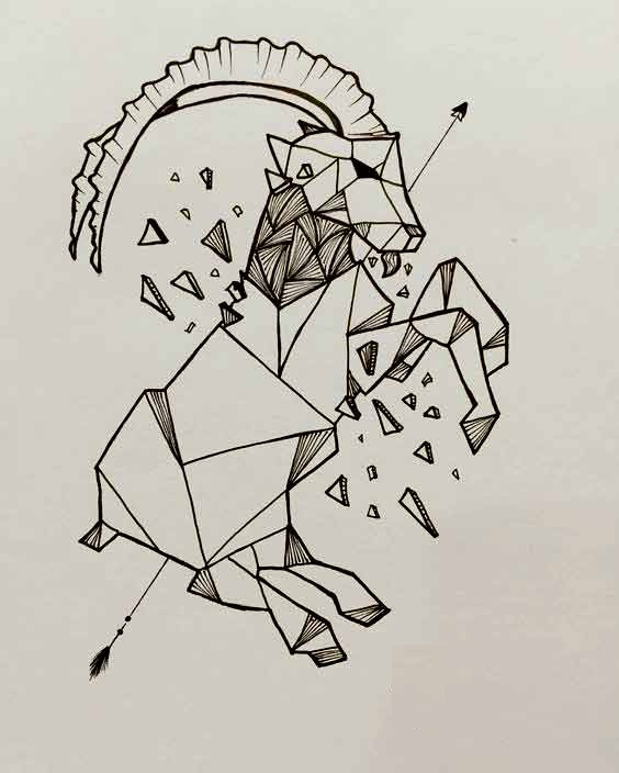 Geometric drawing capricorn tattoo ideas