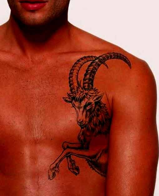 Long horns capricorn tattoo designs for men on chest