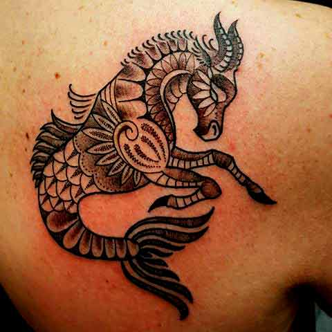 Mandela style capricorn animal tattoos