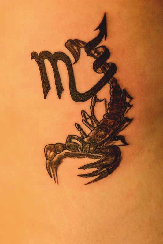 mix tattoo design with scorpion and its horoscope symbol
