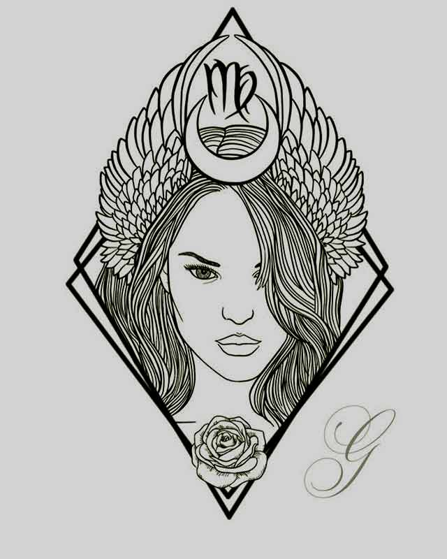 Girls face with Virgo ,half moon, and rose tattoo design