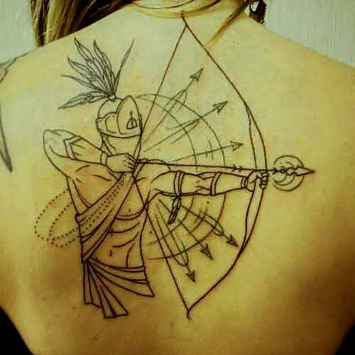 Sagittarius zodiac symbol bow and arrows tattoo on back ideas