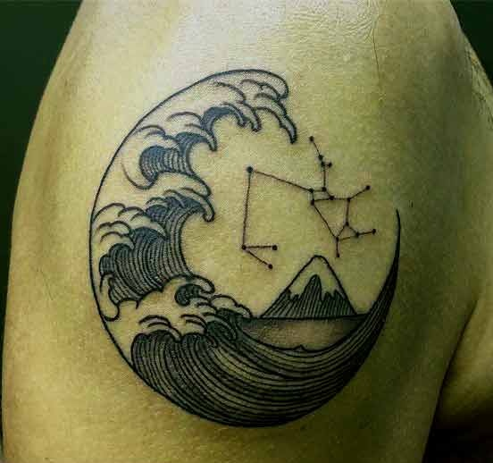 Sagittarius constellation with half moon and sea waves tattoo