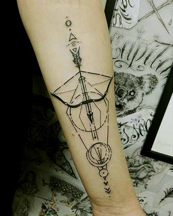 Sagittarius zodiac Bow and Arrow symbol
