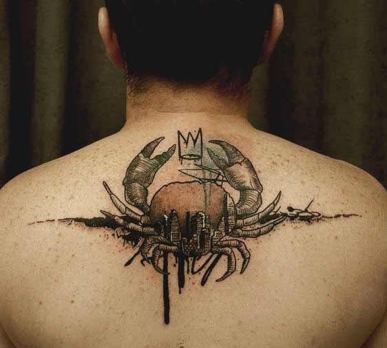 cancer Crab tattoo design on the back